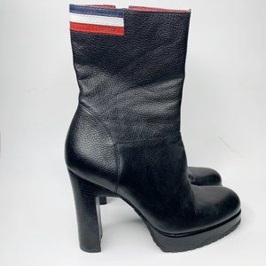 VTG Tommy Hilfiger Black Leather Heeled Booties